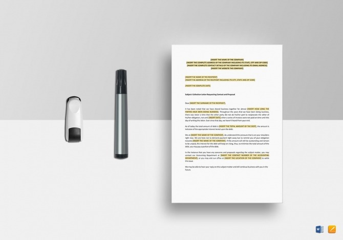 Collection Letter Requesting Contact And Proposal Template In Word