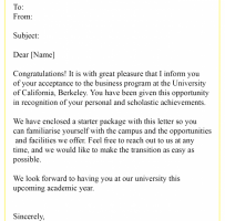 College Acceptance Letter