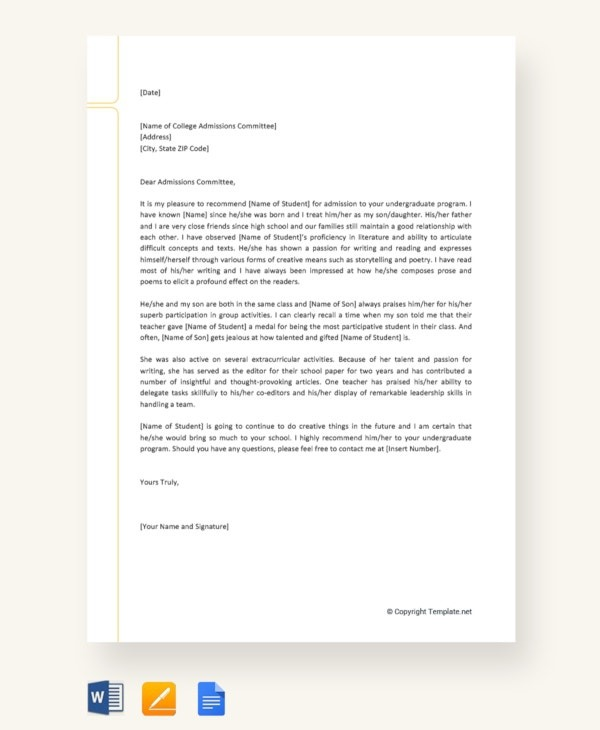 College Recommendation Letter Templates   Samples