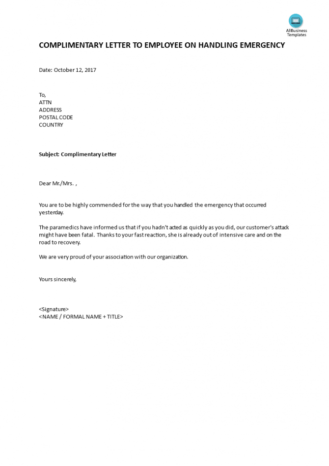 Complimentary Letter To Employee On Handling Emergency