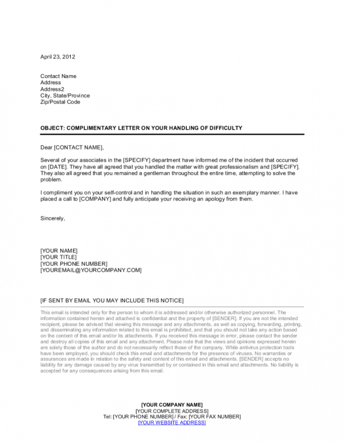 Complimentary Letter To Employee On Handling Of Difficulty