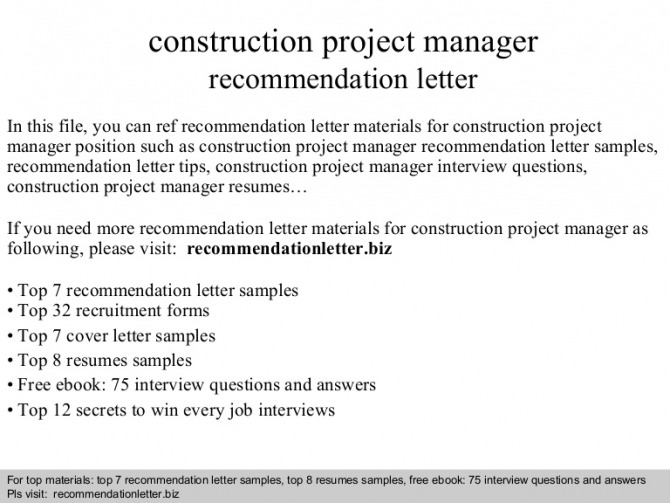 Construction Project Manager Recommendation Letter