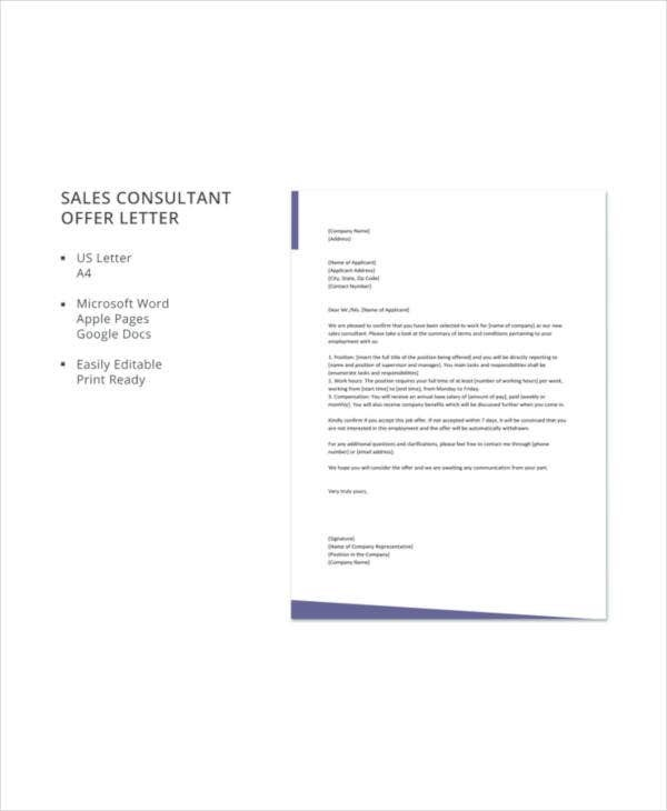 Consultant Offer Letter Templates