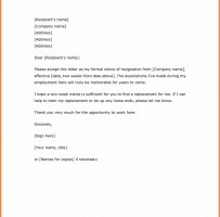 Simple Two Weeks Notice Letter