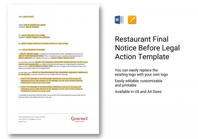 Costume Restaurant Final Notice Before Legal Action Template In