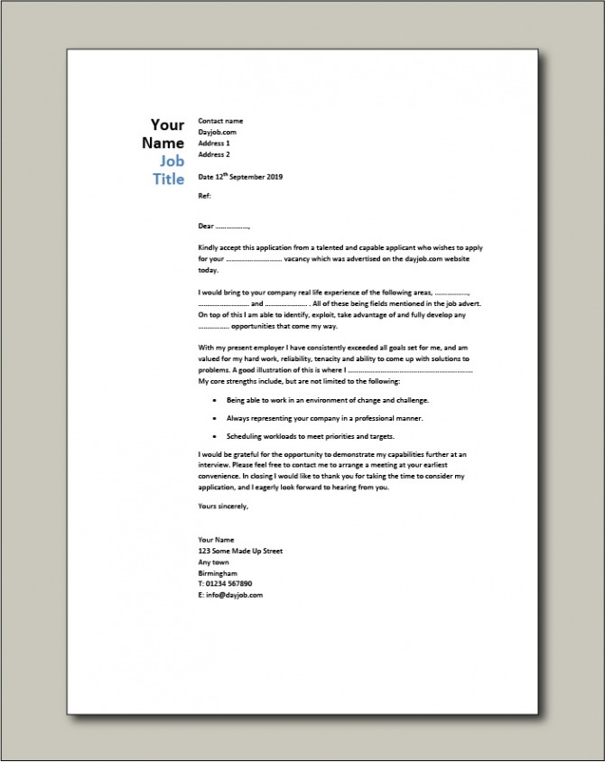 Cover Letter Examples For Different Job Roles In