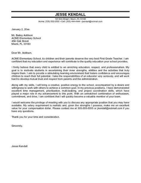 Cover Letter Primary School Teacher Elementary School Teacher