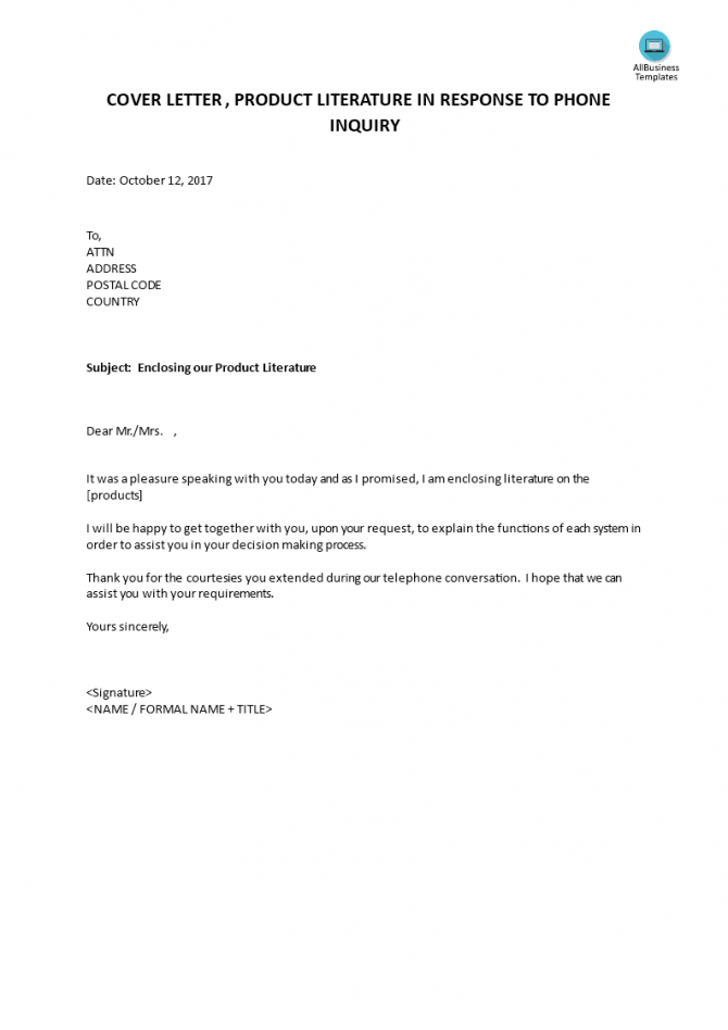 Cover Letter Product Literature In Reply To Phone Inquiry