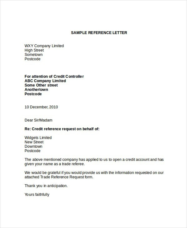 Credit Reference Letter Templates