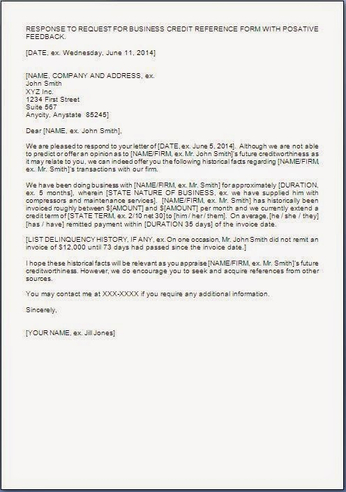 Credit Reference Response Letter