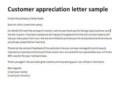 Customer Appreciation Letter Sample