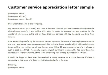 Customer Service Appreciation Letter