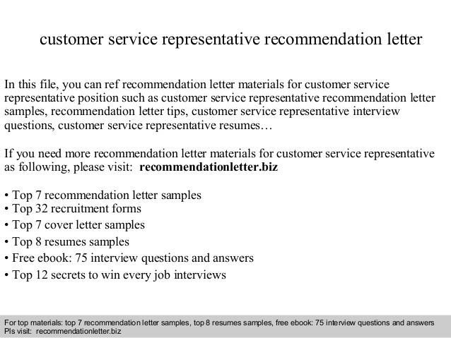 Customer Service Representative Recommendation Letter