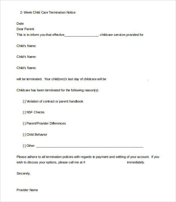 Daycare Termination Letter Templates