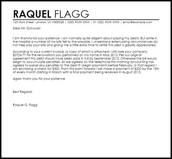 Debt Settlement Agreement Letter Example