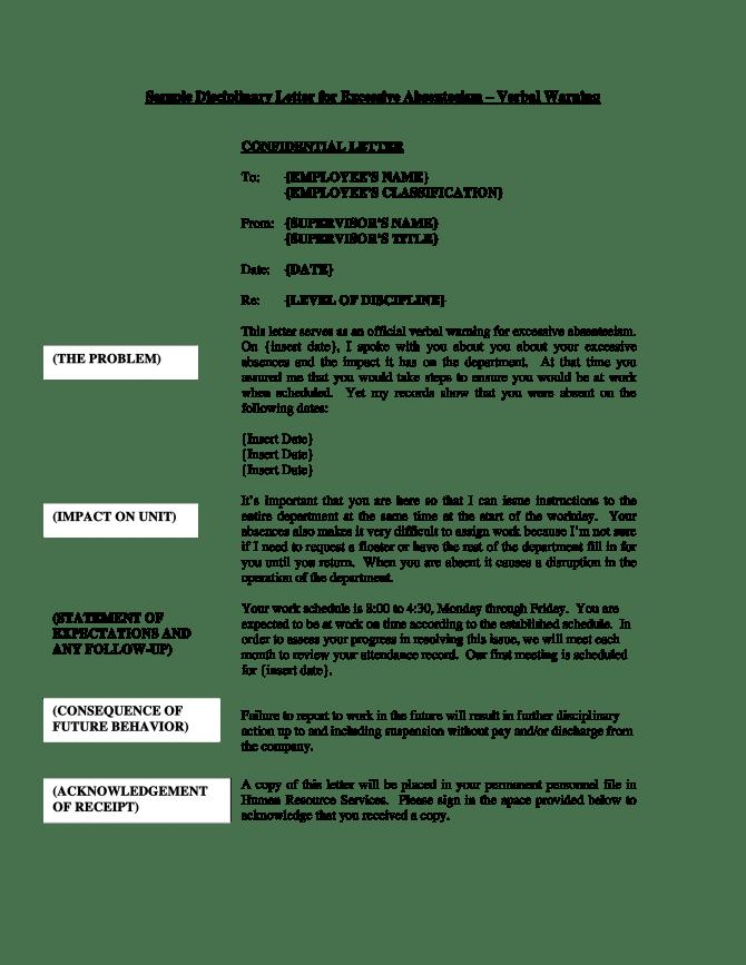 Disciplinary Verbal Warning Letter