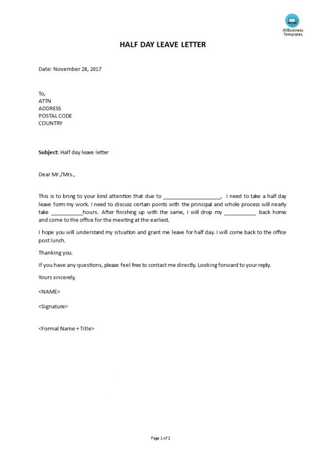 Do You Need A Leave Letter To Request For A Half Day Leave From