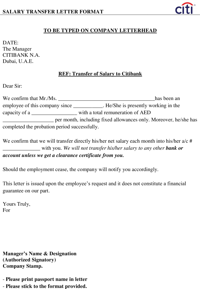 Download Employees Salary Transfer Letter To Bank Main Image