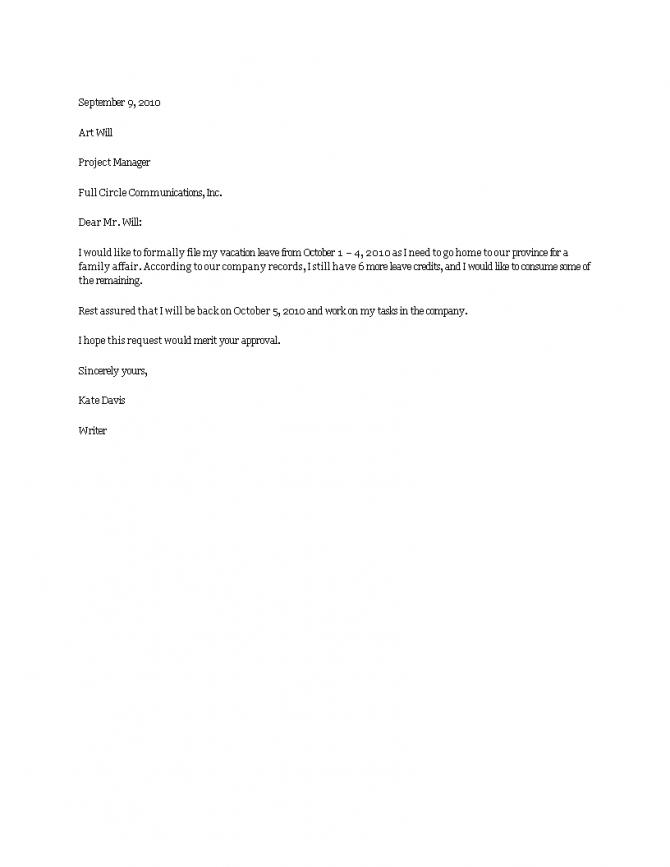 Download Vacation Leave Letter