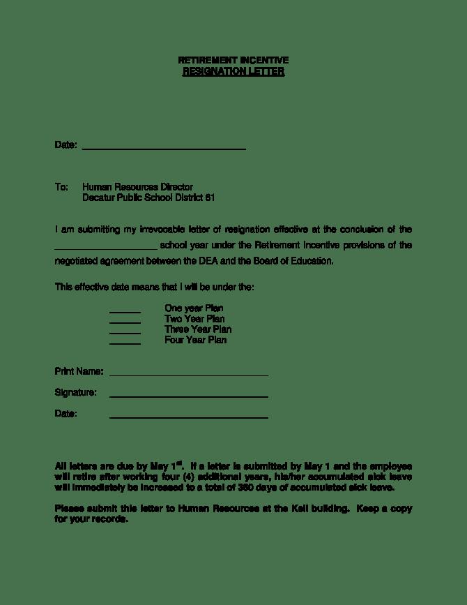 Early Retirement Resignation Letter