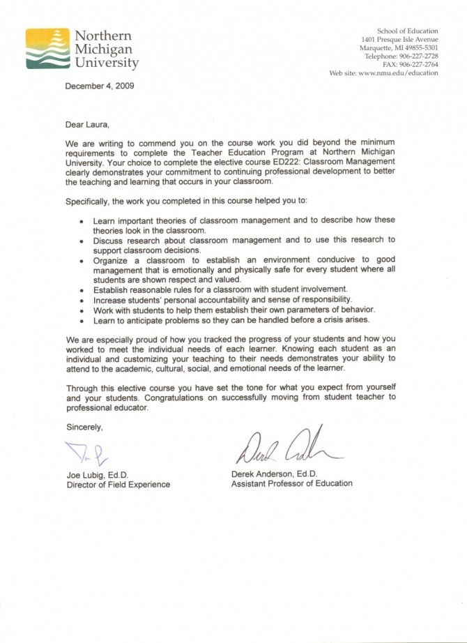 Ed Course Completion Letter