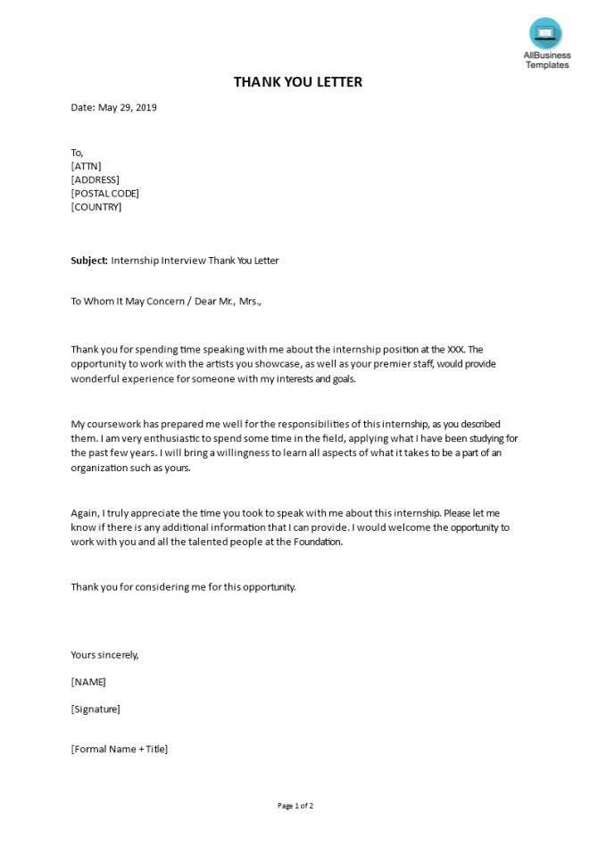 Editable Internship Interview Thank You Letter