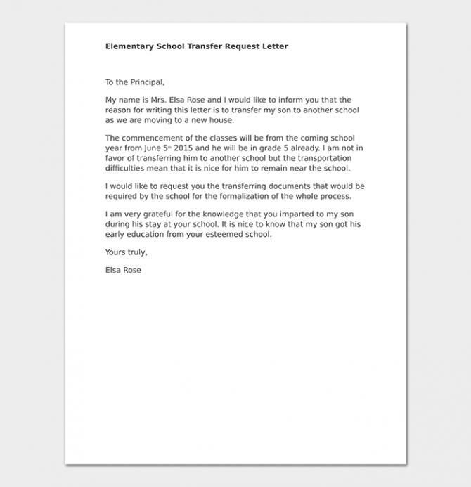 Elementary School Transfer Request Letter Format  Samples   Tips