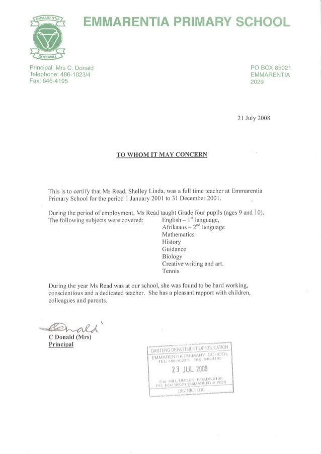 Emmarentia Primary School Reference Letter