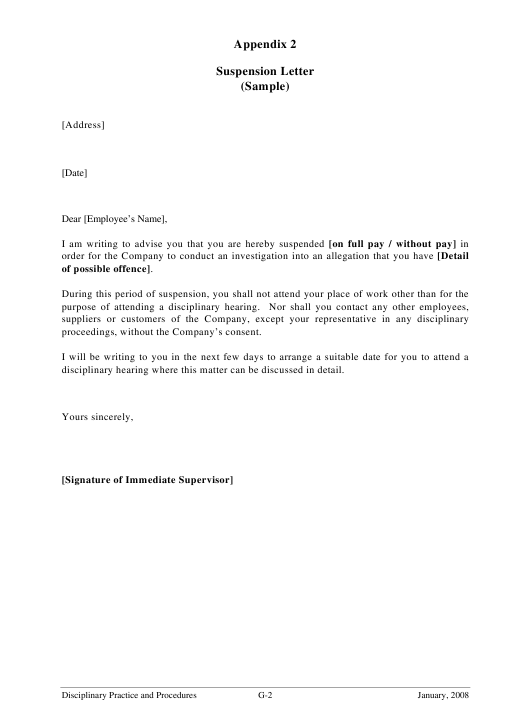 Employee Suspension Letter Template Download Printable Pdf