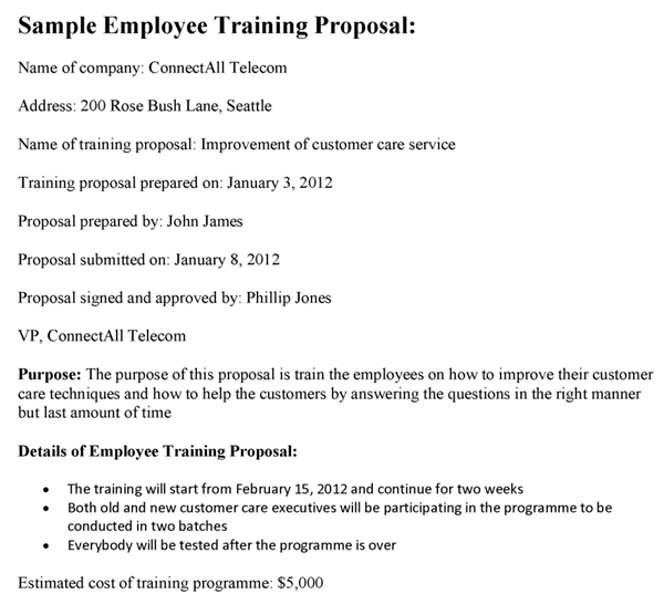Employee Training Proposal Sample