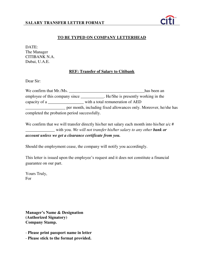 Employees Salary Transfer Letter To Bank