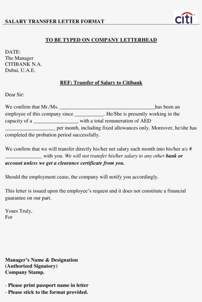 Employees Salary Transfer Letter To Bank Main Image