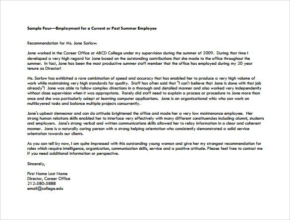Employment Personal Recommendation Letter