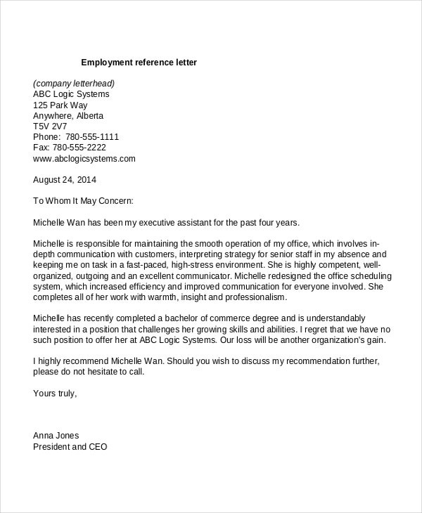 Employment Reference Letter Templates
