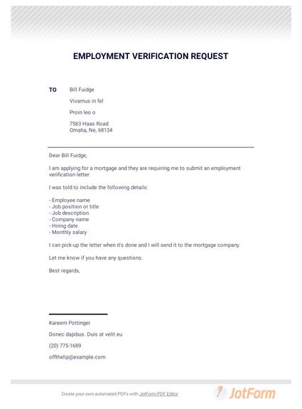 Employment Verification Request