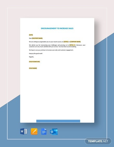 Encouragement To Increase Sales Template