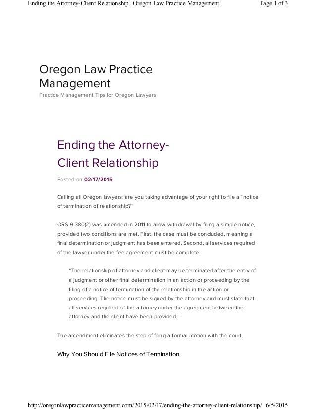 Attorney Termination Letter