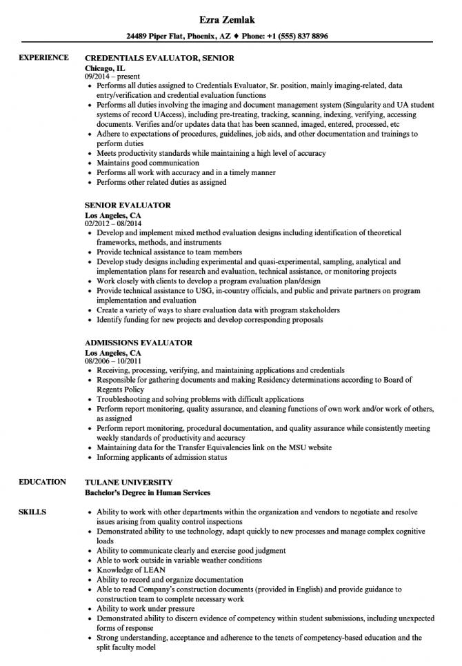 Evaluator Resume Samples