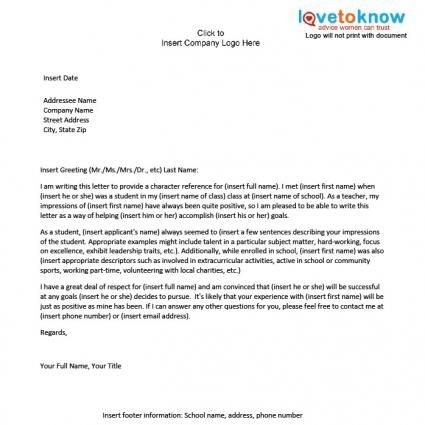 Examples Of A Character Reference Letter