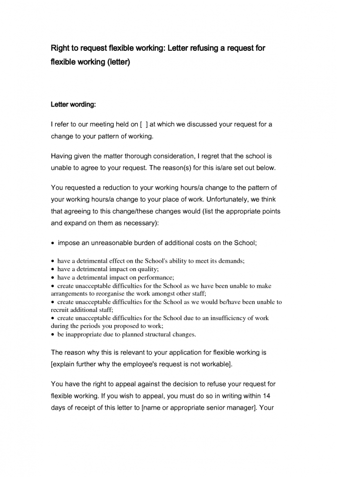 Flexible Working Hours Template Letter  Riskia