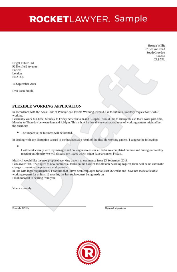 Flexible Working Request Uk Template