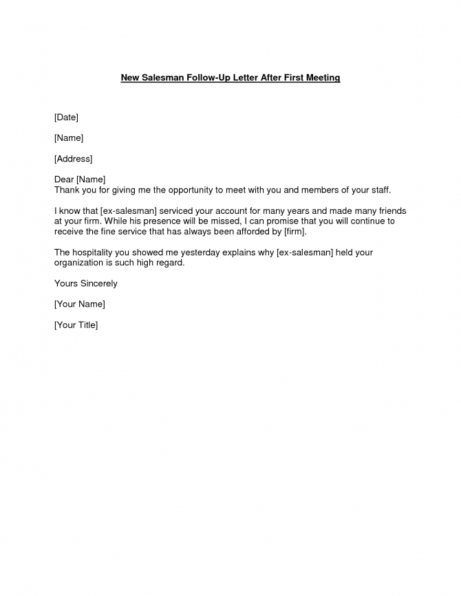 Follow Up Letter After The Meeting