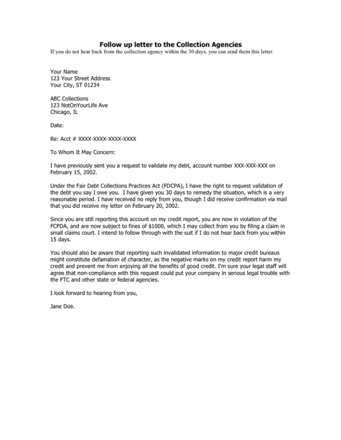 Follow Up Letter To The Collection Agencies In Word And Pdf Formats