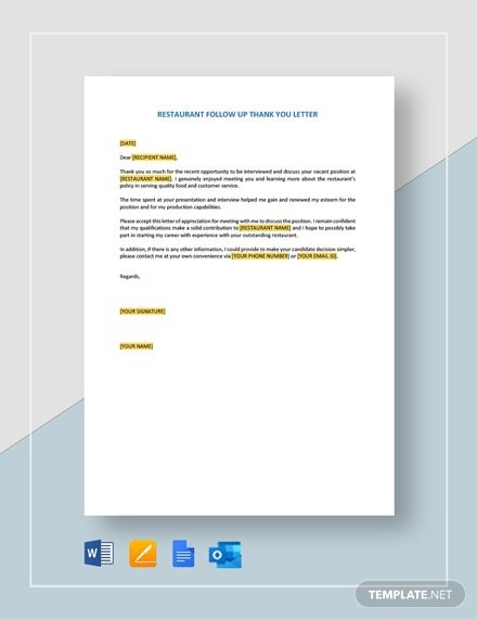 Follow Up Thank You Letter Template