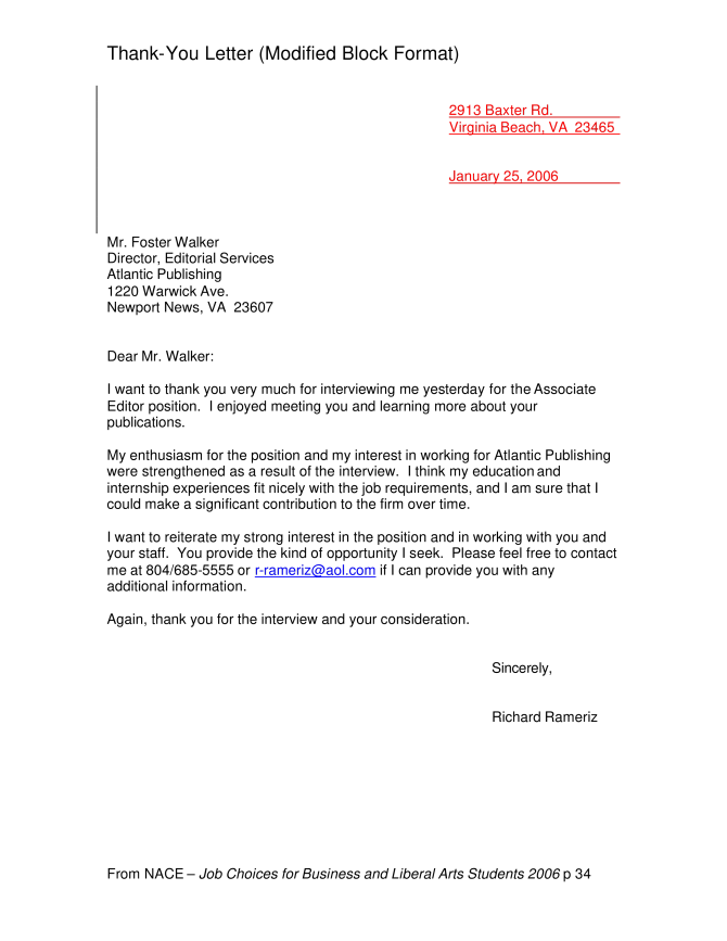 Formal Professional Thank You Letter