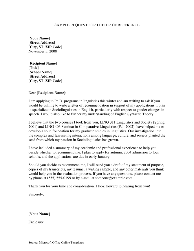 Formal Reference Letter Request