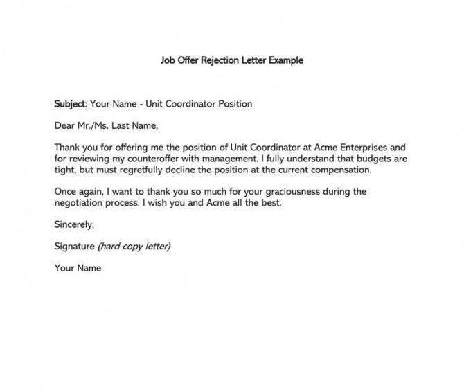 Formal Rejection Letter To Decline Job Offer Sample Letters   Emails