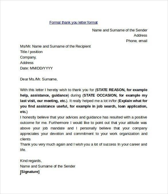 Formal Thank You Letter Format