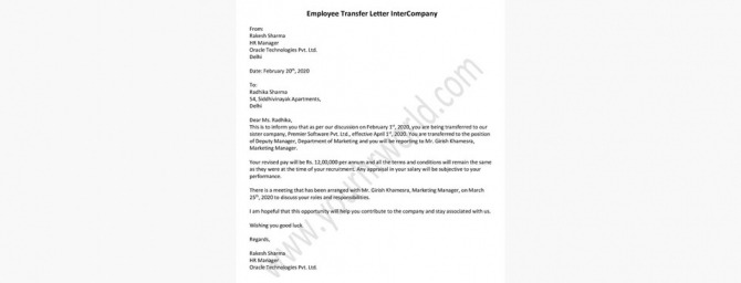Format For Employee Transfer Letter Intercompany By Hr Letter