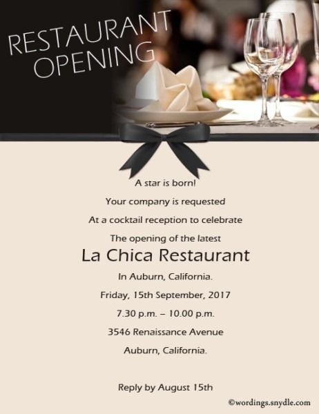 Format Of Restaurant Grand Opening Invitation Letter And Review